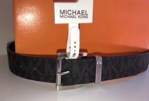 dcdd7f862bcb5 NEW! Michael Kors Men s Belt Size 26-27 Black Monogrammed Silvertone ...