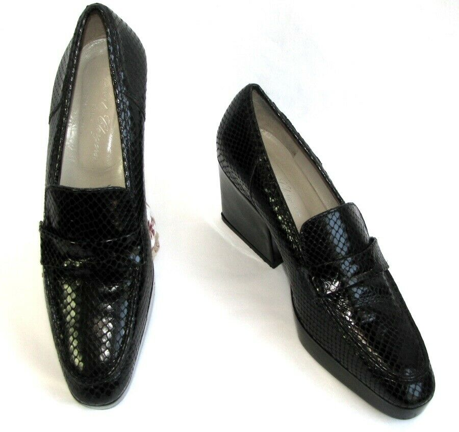 Robert clergerie loafers heels black leather python look 6.5 38 excellent condition