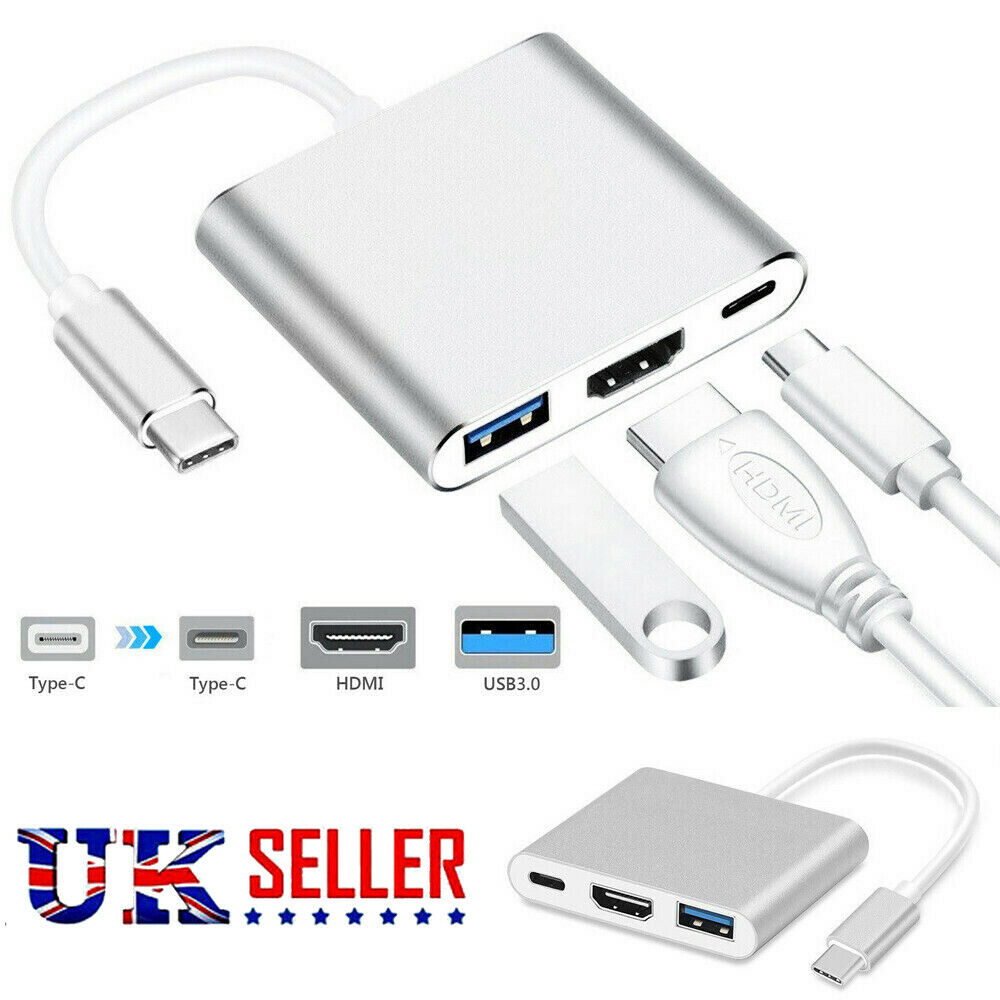 3 IN 1Type C to USB-C 4K HDMI USB 3.0 Hub Adapter Cable For Apple Macbook UK