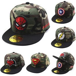 Toddler-Baby-Baseball-Cap-Boys-Girl-Superhero-Camo-Hat-Snapback-Flat-Peaked-Hats