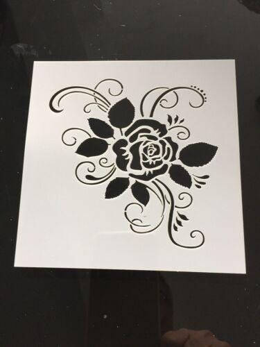 Fleur Rose Feuille Stencil meubles Crafts Shabby Chic Vintage Tuile 13 cm