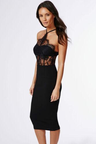 Abito cono aperto ricamato pizzo nudo trasparente Sheer Lace Fitted Midi Dress M