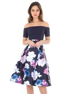 4df144f4019e Image is loading AX-Paris-Womens-Navy-Blue-Bardot-Midi-Dress-