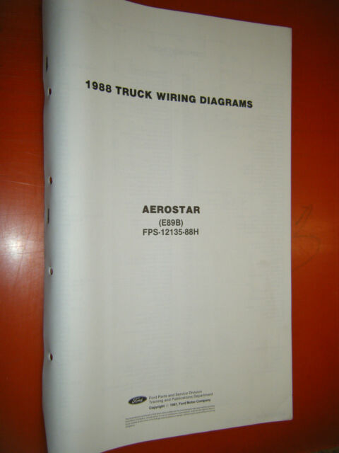 1988 Ford Aerostar Factory Wiring Diagram Sheets Manual