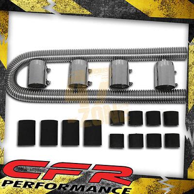 """48/"""" CHROME STAINLESS STEEL RADIATOR HOSE KIT CHEVROLET LS MOTORS GM CHEVY FORD"""