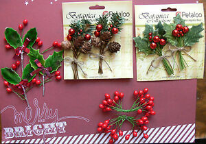 CHRISTMAS-Embellishment-HOLLY-amp-BERRIES-4-Designs-App-8cm-Tall-Petaloo-MultiList
