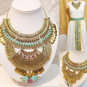 Reina egipcia Nilo Cleopatra Disfraz de Halloween Collar Collar Babero Dorado