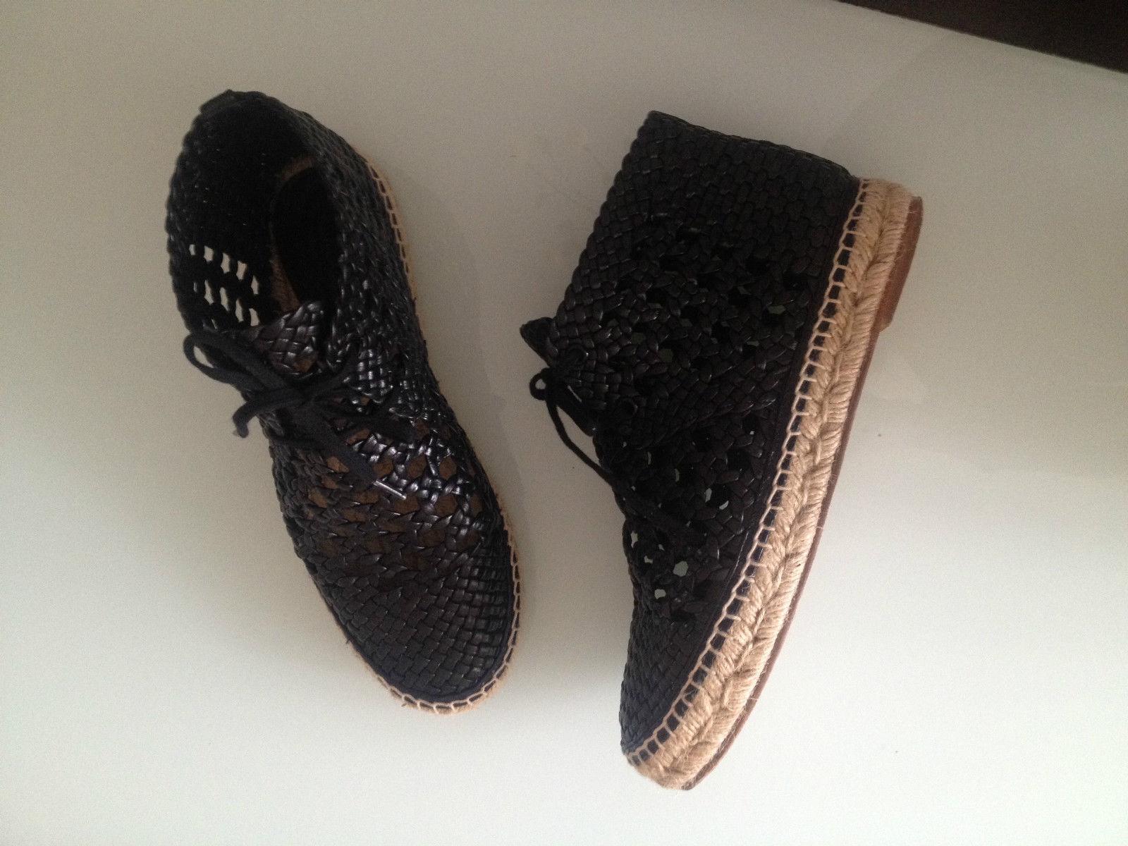 Celine Paris esparteñas esparteñas esparteñas schnürzapatos arena todos los lujo negro de cuero talla 37 wneu  más vendido