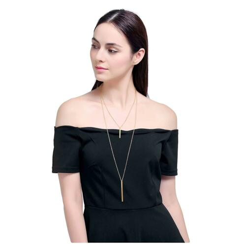 Culovity Exquisite Layered Necklaces Bar Pendant Long Lariat Chain Jewelry For W