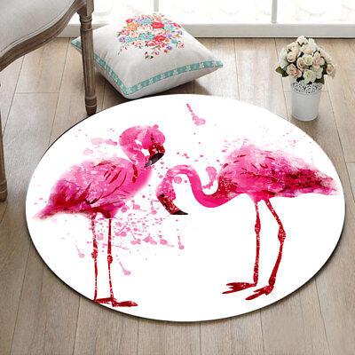 Watercolor Pink Flamingo Flannel Yoga Mat Rugs Floor Bathmat Round Rug Non-slip