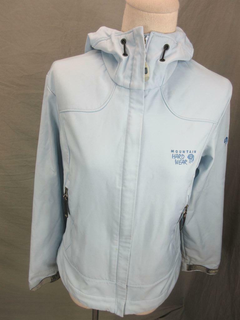Mountain Hardwear Size S Womens Blue Fleece Lined Hooded Softshell Jacket T552