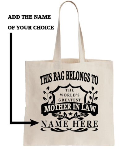Personalised Tote Shopper Add Name Shopping Gift World/'s Best Mother In Law
