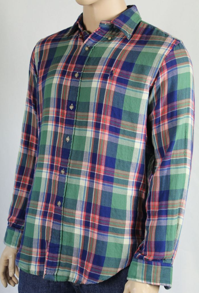 POLO Ralph Lauren Large L Green bluee Red Flannel Classic Dress Shirt NWT