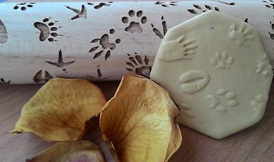 Wooden Rolling Pin Laser Engraved Animals and Birds Foot Print Pattern Embossin