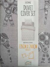 NEU süße Elefanten Bettwäsche Kissen Decke 135 x 200 cm braun beige weiß Primark
