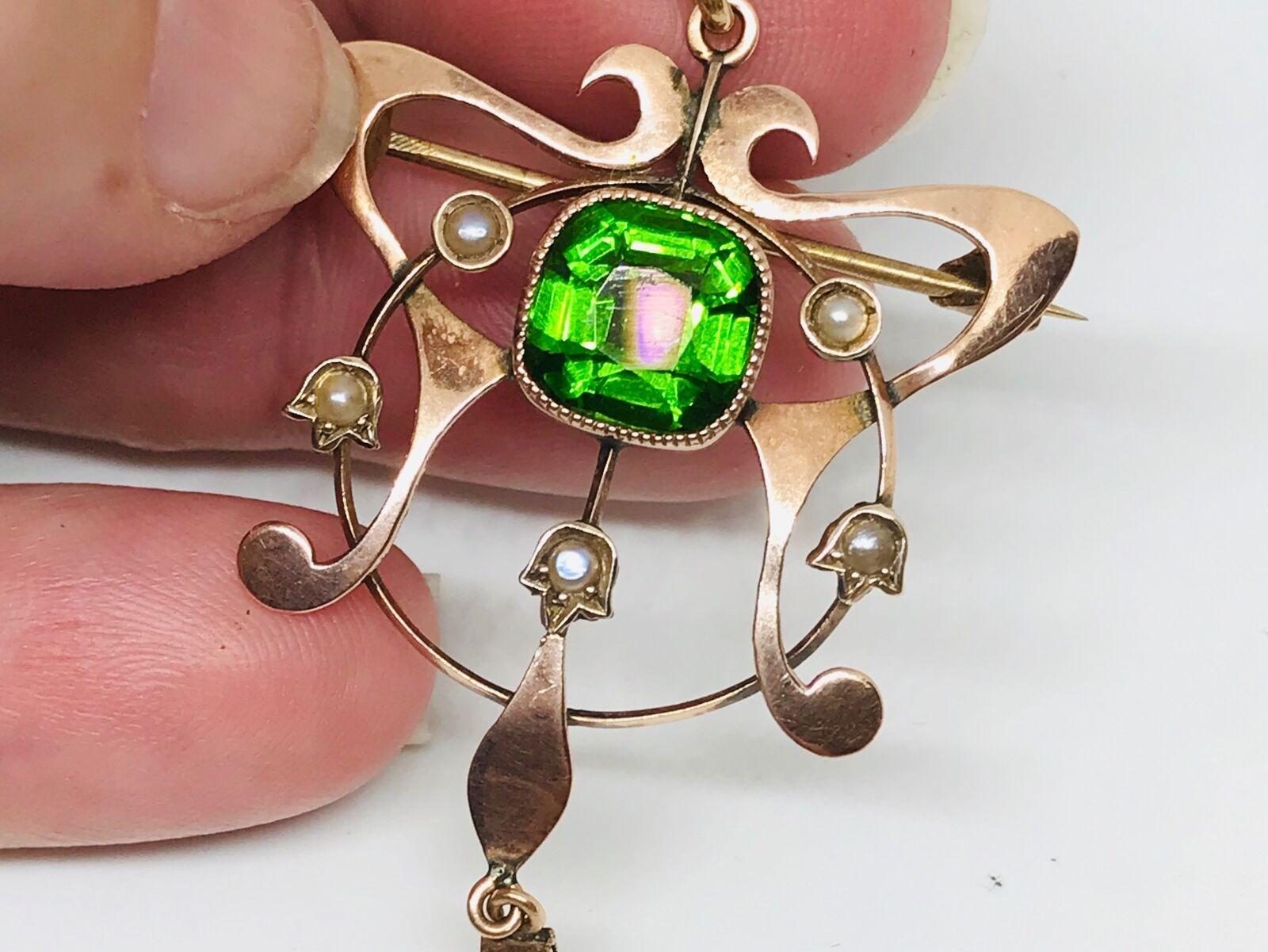 Vittoriano Ciondolo Spilla DOPPIETTO DOPPIETTO DOPPIETTO di verde Aqua e perle in oro 9ct c09896