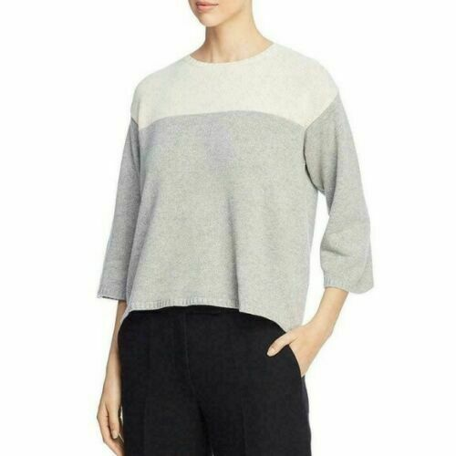 EILEEN FISHER Lofty 95% Cashmere Colorblock Boxy S