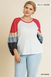 Umgee-Color-Block-Waffle-Knit-Puff-Sleeve-Top-Plus-Size-XL-1X