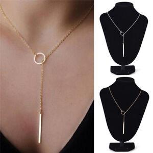 Frauen Persönlichkeit Atemberaubende Golden Bar Kreis Lariat Halskette Schmuck—Y
