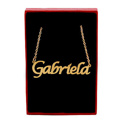 GABRIELA Name Necklace /& Name Bracelet Jewellery Set 18K Gold Plated Anniversary Custom Made Crystals Birthday Christmas Gifts For Her