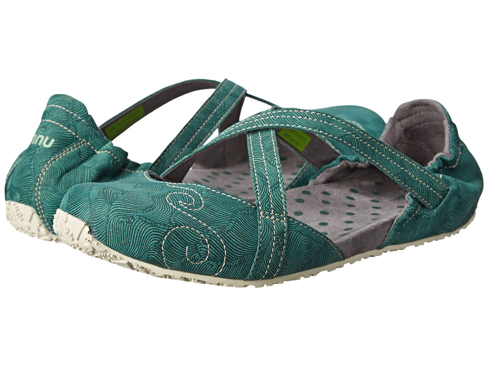 NEW Ahnu Good Karma SHOES Strappy Flats 6 37 Green Vegan Leather $95 Retail