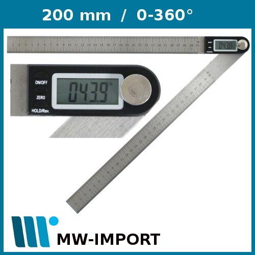 Digital Stellwinkel 200 mm Winkelmessgerät Schmiege beide Lineale mit mm Skala