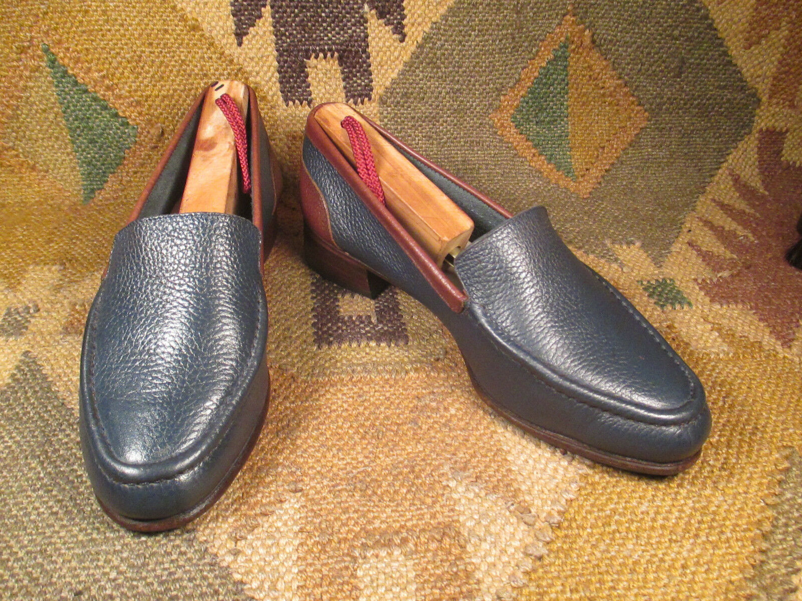 OGGI Two tone blue & brown  textured leather loafers size 6
