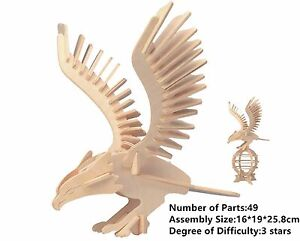Details about New Assembly DIY Education Toy 3D Wooden Model Puzzles Animal  Eagle