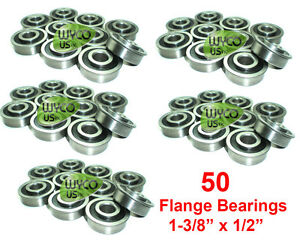 """50 FLANGE BEARINGS, 1-3/8"""" X 1/2"""", GO KARTS, SCOOTERS, 4X4, TOYS, LAWNMOWERS, X"""