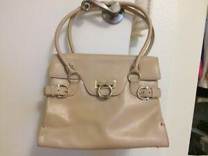 7089f9129e Image is loading Salvatore-Ferragamo-bisque-beige-leather-shoulder-tote- handbag-