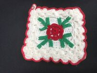 VINTAGE HAND CROCHET RED & WHITE RAISED ROSE POTHOLDER