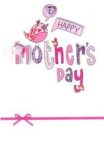 STUNNING-HAND-FINISHED-3D-MOTHER-039-S-DAY-CARDS-PRETTY-PINK-BIRD-MOTHERS-MUM-CARD