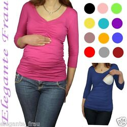 3 in1 Stillshirt, Umstands Shirt Gerafft 3/4 ARM Tunika Pullover Stillbluse Long