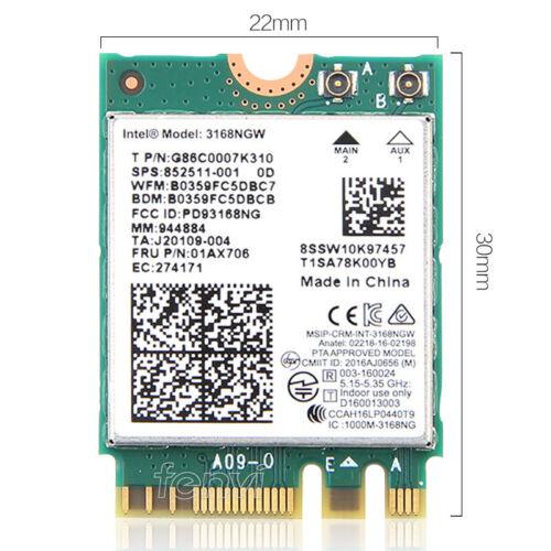 433M Dual band Intel Wireless 3168 Bluetooth4.2 NGFF Wifi Card 3168NGW 802.11ac