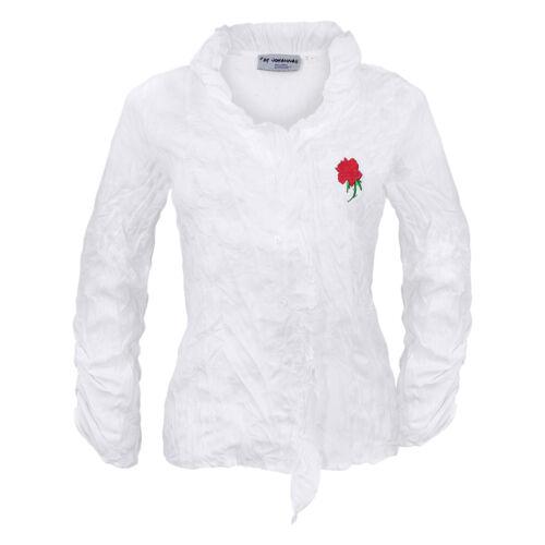 Trachtenbluse Damen Trachten Blusen Damenbluse Weiß Stickerei Langarm Crash Rose