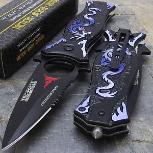 """8"""" TAC FORCE BLUE DRAGON SPRING ASSISTED TACTICAL FOLDING KNIFE Pocket Blade"""