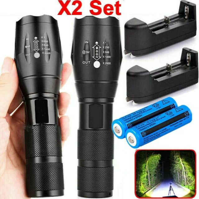 20000LM Pro Black Tactical Zoomable T6 LED 5 Modes Flashlight Lamp GA
