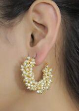 6260 Ethnic Bollywood White Pearl Bali Hoop Earrings Jhumki Indian Jewelry