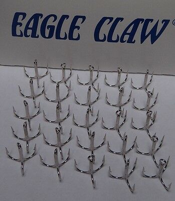 EAGLE CLAW X-SHORT-3X STRONG-STRAIGHT POINT TREBLE HOOKS-NICKEL-25 PACK-SIZE 1/0
