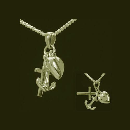 Glaube Liebe Hoffnung Symbol Anhänger mit Kette aus Echt Silber 925 vergoldet