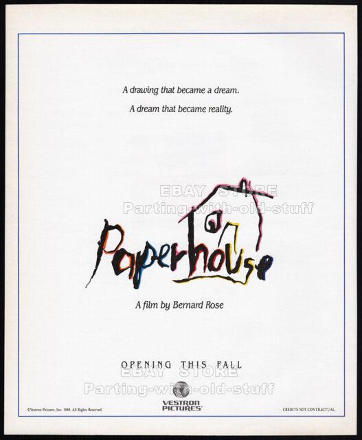 PAPERHOUSE__Original 1988 print AD_movie promo_poster__GLENNE HEADLY__BEN CROSS