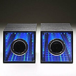 Details About 33w Infinity Mirror Usb Computer Speakers Audio Twin Wooden Cube Light Up Led
