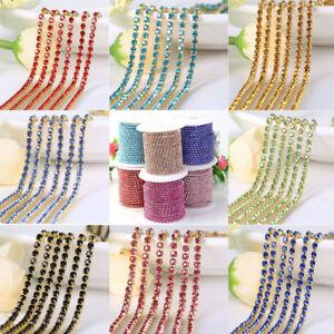 1M-2-2-5-3mm-Rhinestone-Crystal-Trim-Jewelry-Craft-Close-Cup-Chains-String-Trim