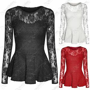 WOMENS-LADIES-LACE-MESH-PEPLUM-FRILL-TOPS-BODYCON-SMART-LONG-SLEEVED-TOP-BLOUSE