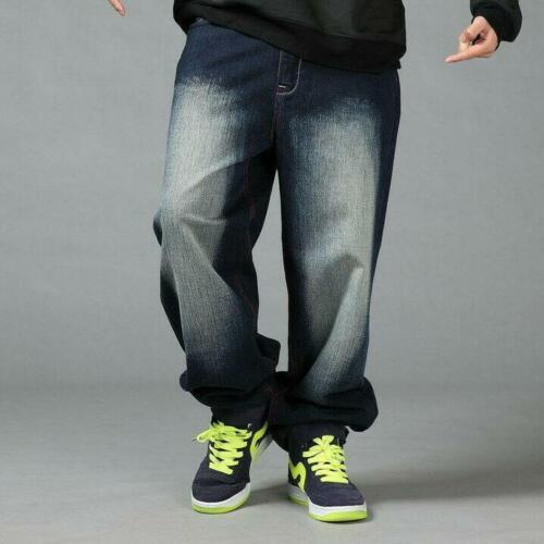 Mens Fit Trousers HipHop Jeans Denim Baggy Streetwear Pants Stonewashed Loose