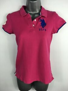 WOMENS-U-S-POLO-ASSN-PINK-EMBROIDERED-LOGO-SHORT-SLEEVE-POLO-SHIRT-TOP-MEDIUM
