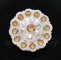 Western Bright Silver Flower Crystal Rhinestone Concho Screw Back