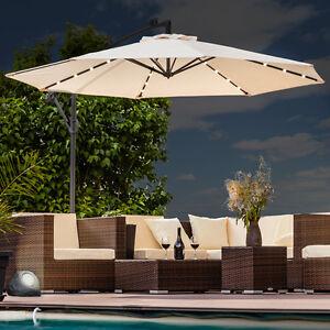 luxus sonnenschirm mit led beleuchtung ampelschirm 300 cm garten schirm pavillon ebay. Black Bedroom Furniture Sets. Home Design Ideas