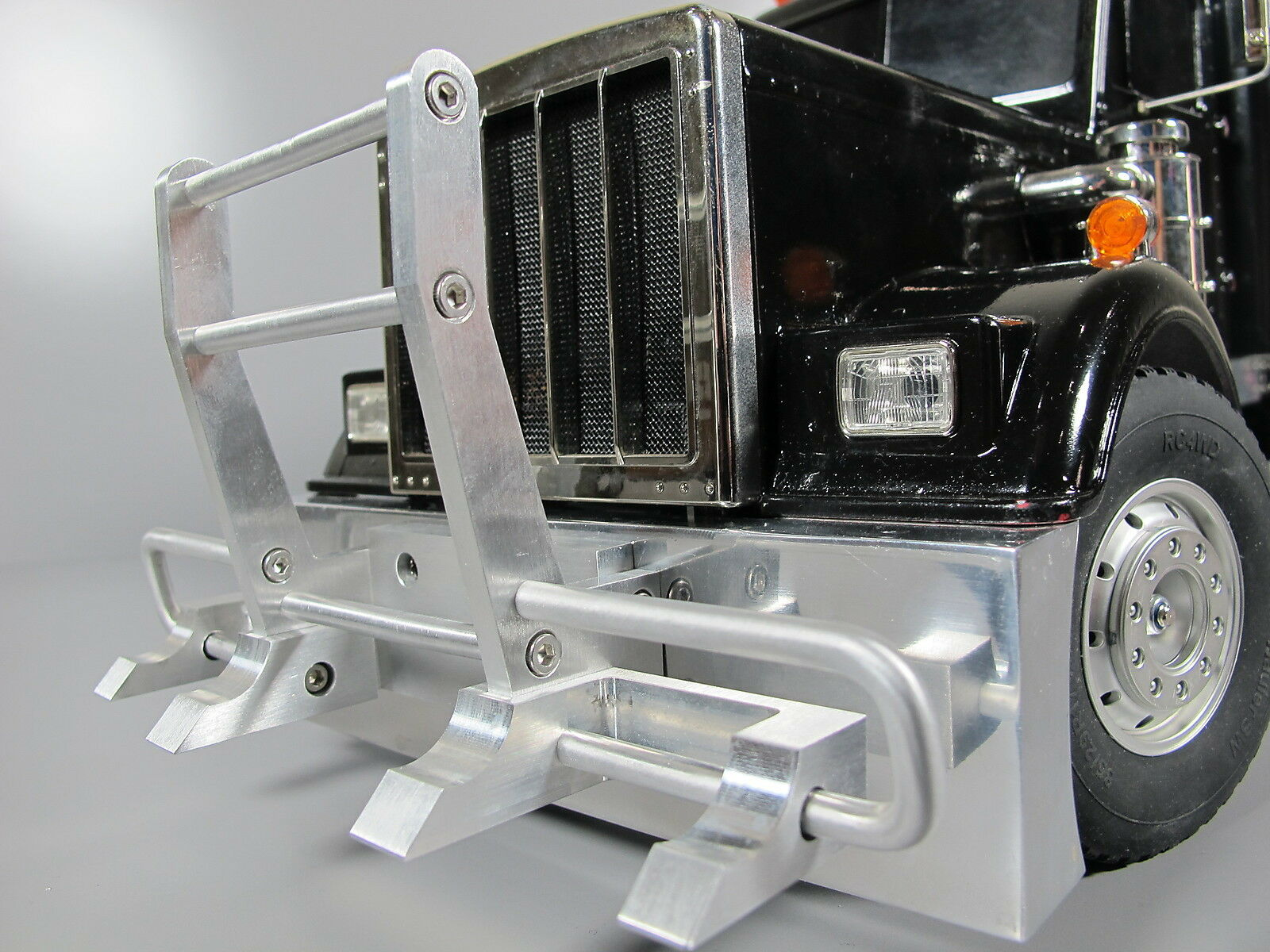 Gancho De Aluminio Estilo Grueso parachoques Combo Tamiya Rc 1 14 Rey Transportador Semi Tractor