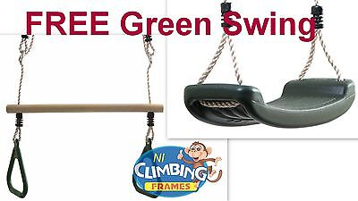 FREE Green Swing Seat with every Trapeze Bar with Green Gym Rings Climbing Frame